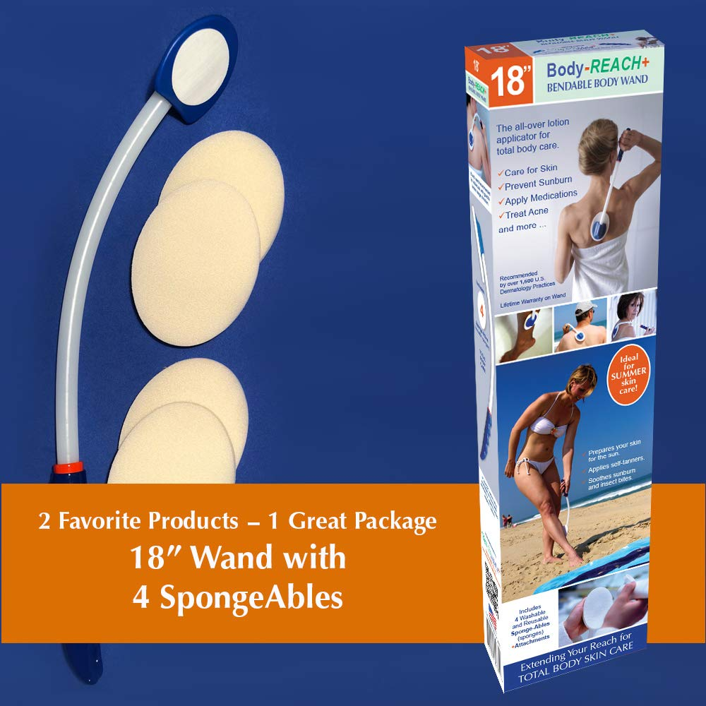 18 Semi-flex Body-Reach+ BendableUnbreakable Lotion Applicator includes: (4) SpongeAbles ReachMate Plus