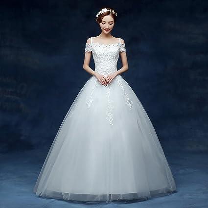 Cola de la Novia Palabra de Novia Vestido de Hombro Coreano Simple Slim Boda de Cola