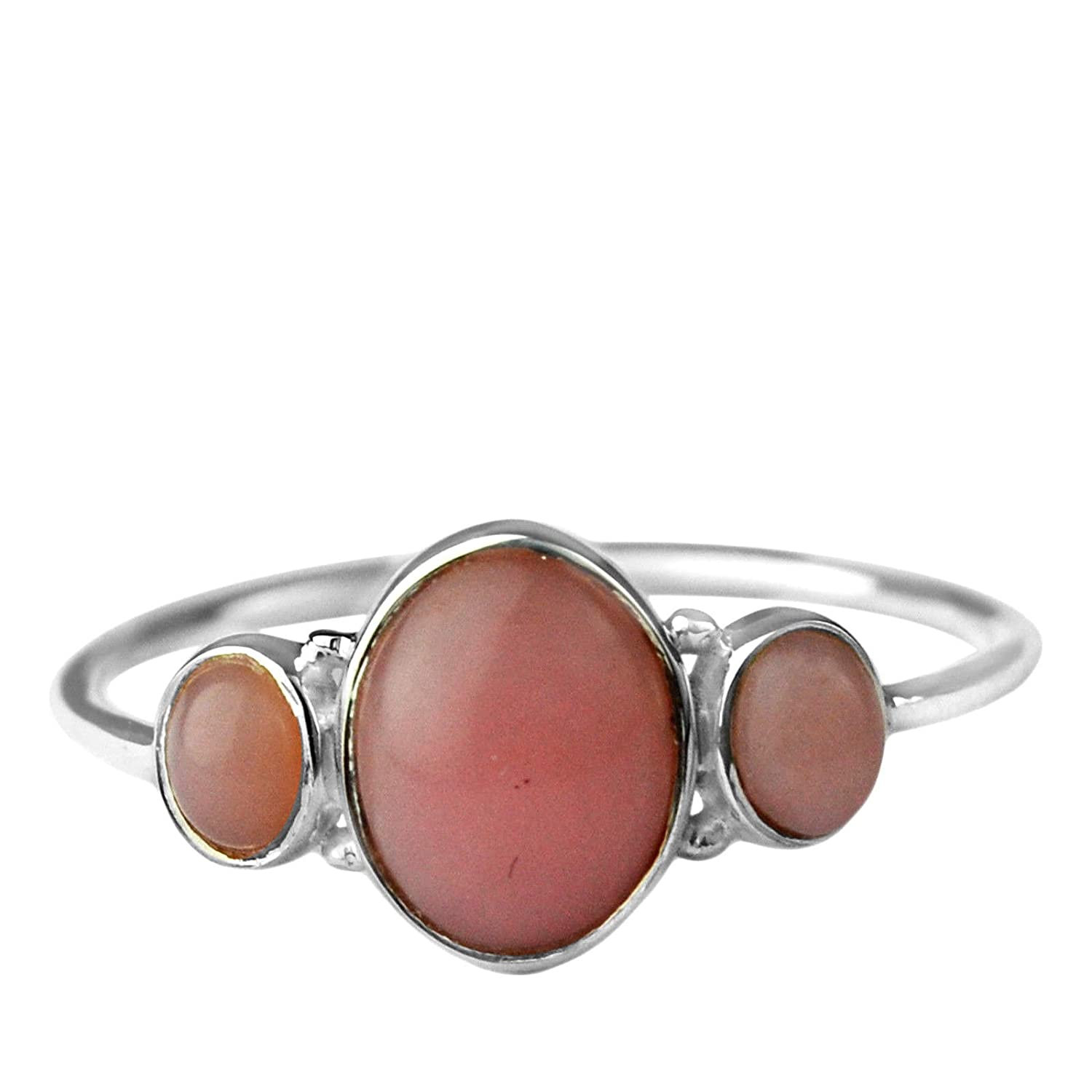 Crystalcraftindia Pink opal 925 Sterling silver lightweight ring size 7 US 1.16 g teenager jewelry