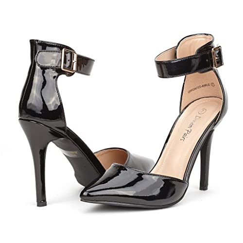 Women's Fashion Ankle Strap Zipper High Heel D'Orsay Shoes