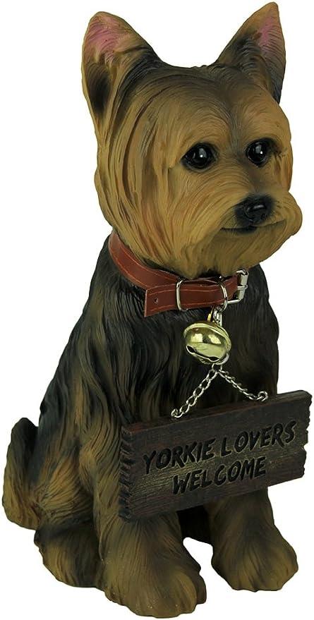 Perro Yorkshire Terrier DWK-HD38789 Fiel Estatua de Yorkie con letrero de doble cara
