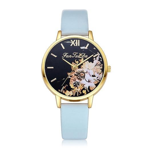Relojes Pulsera Mujer Cuero PU Banda Moda De Lujo De Cuarzo Analógico Reloj De Pulsera Redondo Relojes: Amazon.es: Relojes