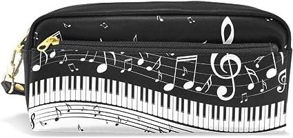 Funnyy Estuche de piel sintética con cremallera para lápices, piano, notas musicales, lápices de notas, estuche de maquillaje, bolsa de cosméticos ...