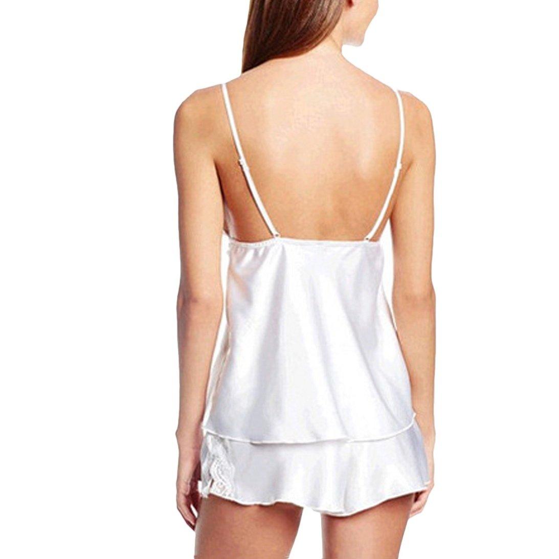 bda8927b7a6 Amazon.com  Sunward Sexy Women s Short + Tank Tops Sleep Set Summer Lace  Pajamas Short Set  Clothing