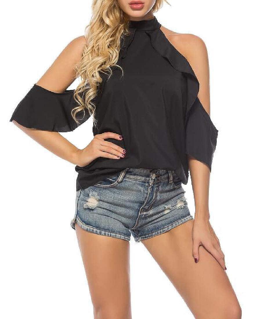 a74e026861dd Zimaes-Women Ruffle Chiffon Halter Neck Tee Relaxed Summer Shirt at Amazon  Women s Clothing store