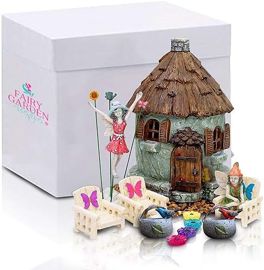 Fairy Garden Adventures - Kit de jardín de hadas en miniatura, casas y figuras para interior y