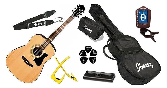 Ibanez xwv50 Ed njp NT Jam Pack guitarra acústica bolsa, soporte ...