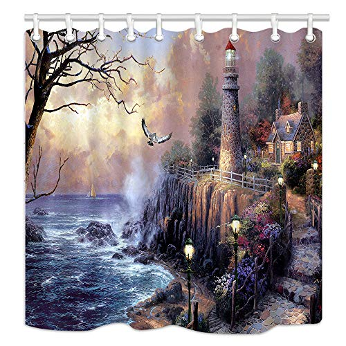 NYMB Lighthouse Shower Curtains, Painting Lighthouse by Ocean Coast with Wooden House, Polyester Fabric Waterproof Bathroom Curtains, Shower Curtain Hooks Included, 70X70in ()