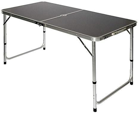 Tavolino Campeggio Pieghevole Alluminio.Amanka Tavolino Da Pic Nic 120x60x70cm Tavolo Da Campeggio In Alluminio Altezza Regolabile Pieghevole Formato Valigia Grigio Scuro