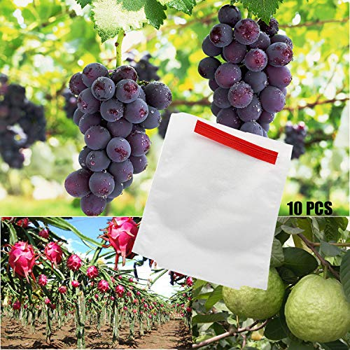 Alltripal Reusable Fabric Fruit Protection Bags Reusable Nylon Mesh Netting Barrier Bags for Apple Grape Mango Pear Fruit and Vegetable Against from Birds(7.87X9.84inch, 10pcs)