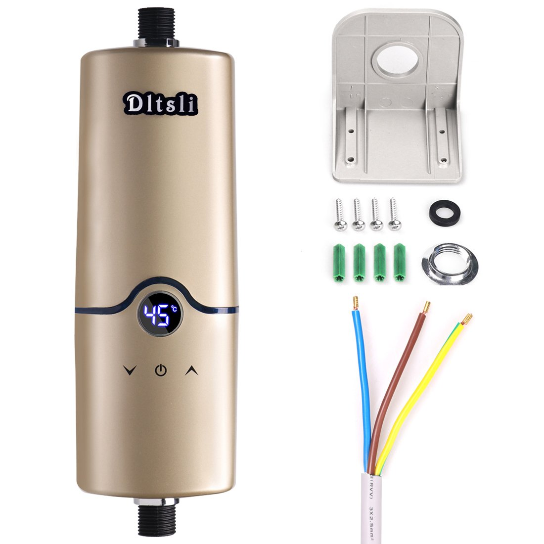 240V 4 Power Levels (5.5KW 5KW 4.5KW 3.5KW) Instant Electric Hot Tankless Water Heater for Bathroom Kitchen