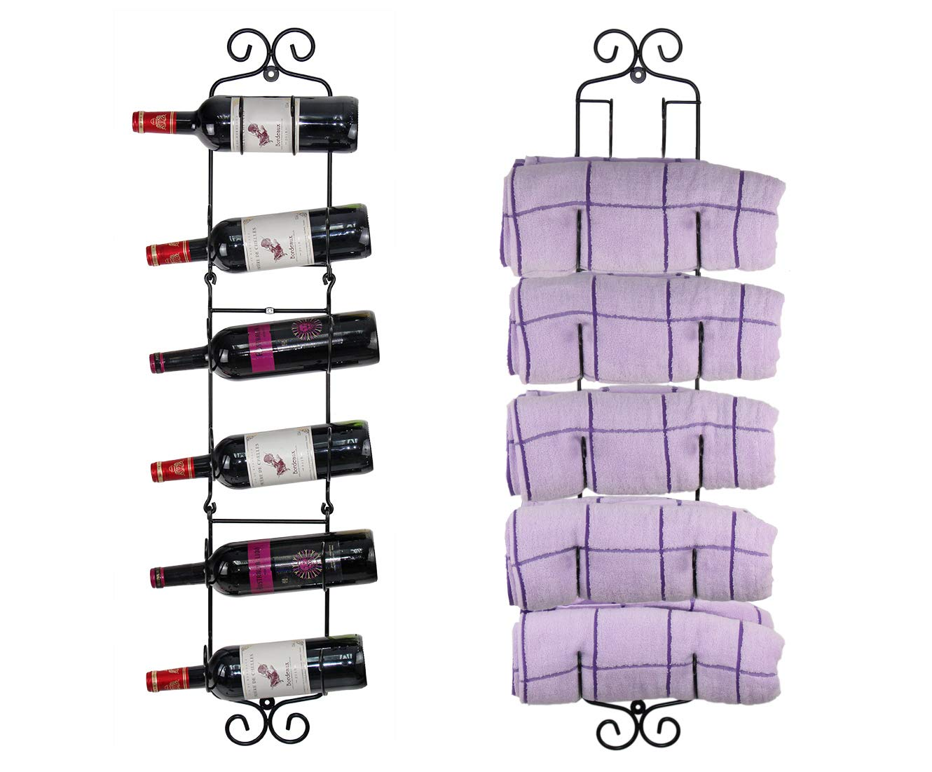 ESYLIFE Wall Mounted Wine Towel Rack - Cascading Design for Holding 2-6 Bottles/Towels