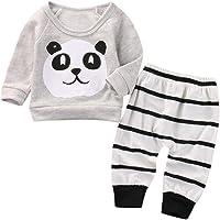SMARTLADY 2PCS/Set Recién Nacido Bebé Panda Patrón Sudaderas Camiseta y Raya Pantalones Bebe Niño Niña otoño Invierno…