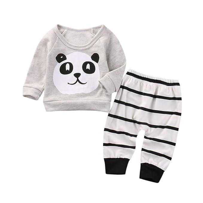 2PCS/set Recién nacido Bebé Panda Patrón Sudaderas Camiseta y Raya  Pantalones Bebe Niño Niña otoño invierno Ropa