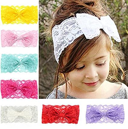 Baby Kids Girls Knitted Elastic Headband Toddler Lace Bow Flower Hair Band