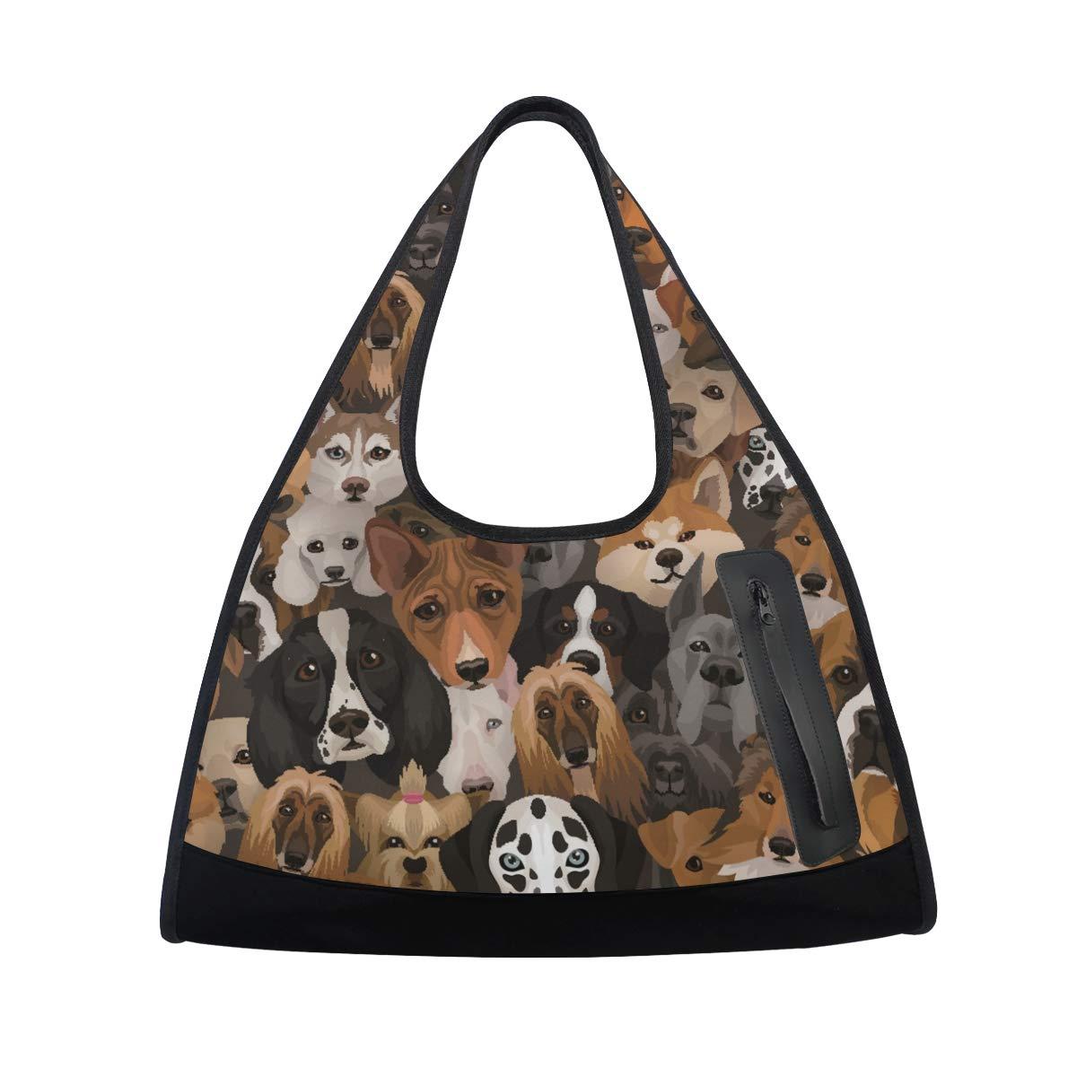 Unisex Travel Duffels Gym Bag Husky Dog Bulldog Canvas Weekender Bag Shoulder Bag Totes bags