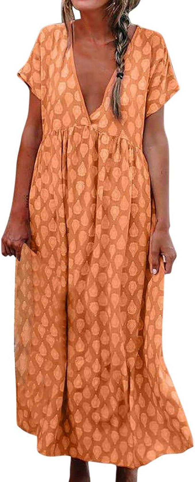 GreatestPAK Damen knöchellanges Kleid Kurzarm V-Ausschnitt Sommer