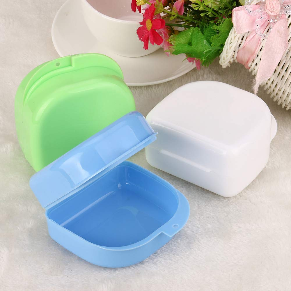 Hohaski Denture Bath Appliance False Teeth Box Storage Case Rinsing Basket Professional Dental Supplies Color Random(White, Blue & Green ) by Hohaski (Image #4)