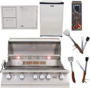 Lion Premium Grills 40-Inch Natural Gas Grill L90000 with Lion Door and Drawer Combo with Towel Rack and Lion Refrigerator Package Deal with 5 in 1 BBQ Tool Set