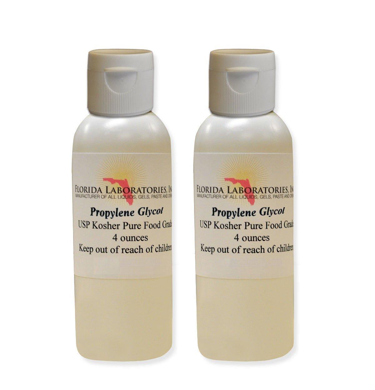 2 Bottles 4 oz of Propylene Glycol USP PG Kosher PG 99.9% Pure Food Grade