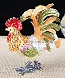 Bejeweled Rooster Chicken Statue Figurine Vintage Chicken / Rooster Trinket Jewelry Box (6x7.5CM)