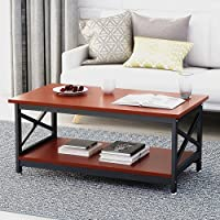 Tribesigns Modern Coffee Table with Lower Storage Shelf for Living Room, Strong Metal Frame