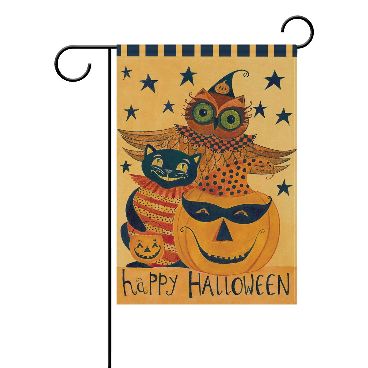 Wamika Happy Halloween Pumpkin Owl Black Cat Double Sided Garden Yard Flag 12'' x 18'', Halloween Trick Treat Fall Festive Autumn Decorative Garden Flag Banner Outdoor Home Decor Party