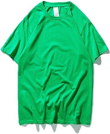 AFCITY Camiseta para Hombre Camiseta de Cuello Redondo for Hombre de los niños Sumer Manga Corta Camisetas en Color Liso Oversized Loose 1-Pack (Color : Verde, tamaño : XL): Amazon.es: Hogar