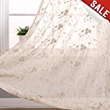 Floral Embroidery Sheer Window Curtains for Bedroom Curtain Set Crinkled Rod Pocket Voile Window Panels for Living Room 95 inch Length (1 pair, Beige)