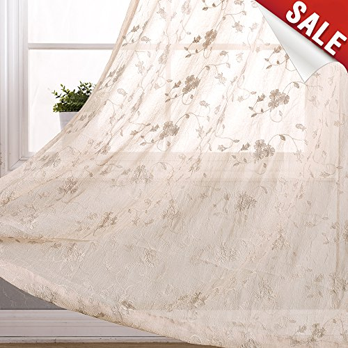 Sheer Curtains Living Room Bedroom Beige 63 inch Flower Embroidered Voile Window Curtain Set 2 ()