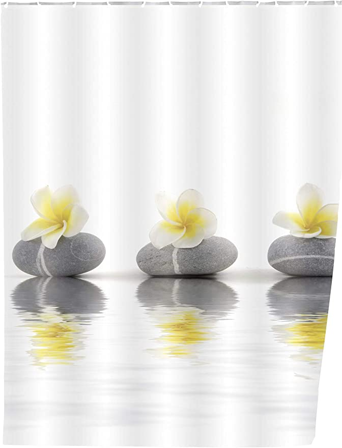Poliestere Multicolore Wenko Tenda Doccia Stones con Flower Lavabile 180 x 200 cm