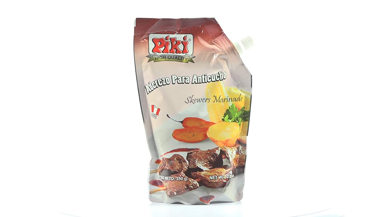 Amazon.com : Piki Aderezos Peruanos (Peruvian Marinated Seasonings) Doypack Bags (Aderezo para Anticucho (Beef Skewere Marinade), 12.35 oz (Pack of 1)) ...