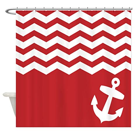 Charmant CafePress   Nautical Red Chevron Anchor   Decorative Fabric Shower Curtain