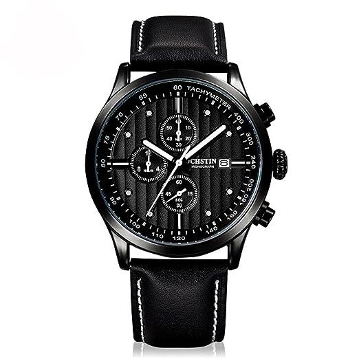 Relojes de Pulsera, Relojes para Hombres, Banda de Reloj de Cuero Genuino Reloj de Cuarzo Multifuncional Reloj dial Moda Casual para Hombres de Negocios, ...