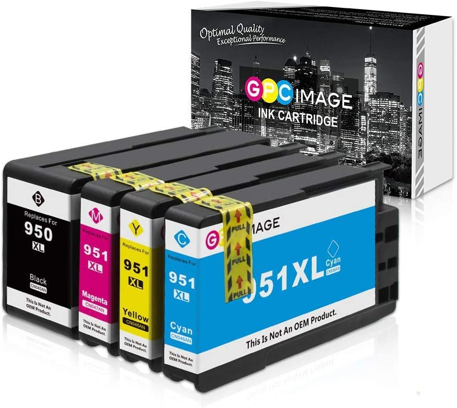 GPC Image Compatible Ink Cartridge Replacement for HP ink cartridge 950 951 950XL 951XL to use with OfficeJet 8600 ink OfficeJet Pro 8610 8100 8630 251dw Printer (Black Cyan Magenta Yellow, 4-Pack)