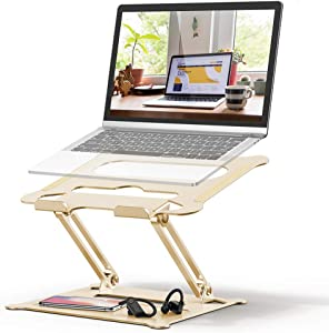 Adjustable Laptop Stand, FYSMY Ergonomic Portable Computer Stand with Heat-Vent to Elevate Laptop, 13 Lbs Heavy Duty Laptop Holder Compatible with MacBook, Air, Pro All Laptops (Gold)