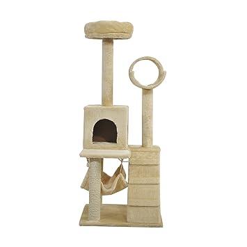PawHut Árbol Rascador para Gatos con Nido Plataforma Caseta Escalera Hamaca 50x50x132cm MDF Cubierto de Felpa Beige: Amazon.es: Jardín