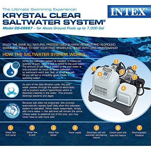 Intex Krystal Clear Saltwater System with E.C.O. (Electrocatalytic Oxidation) for up to 7000-Gallon Above Ground Pools, 110-120V with GFCI