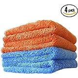 (4-Pack) THE RAG COMPANY 16 in. x 16 in. Eagle Edgeless Mix Pack (2 Blue, 2 Orange) Professional Korean 70/30 Super Plush 480gsm Microfiber Detailing Towels