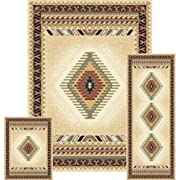 Furnish my Place 3 Piece Southwestern Contemporary Geometric Area Rug Cream Set (5 x 8) (2 x 6) (2 x 3) 27097, Tucson Cream