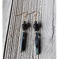 Blue and Gold Aura Quartz and Lava Stone Essential Oil Diffuser Earrings