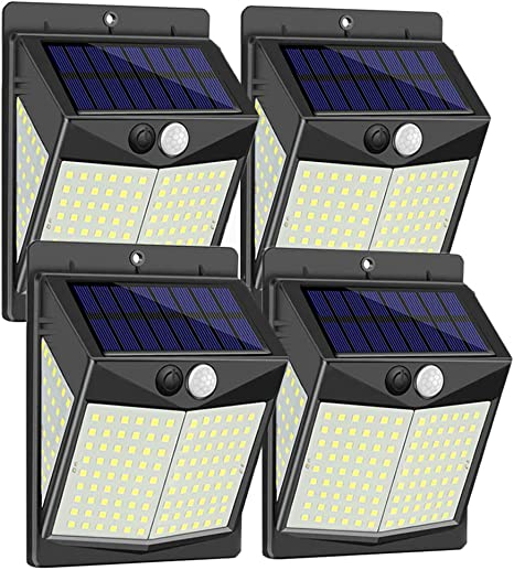 Garage SEZAC Solar Security Outdoor Lights 270/° Wide Angle Lighting Solar Motion Sensor Lights Wireless Waterproof for Yard Deck Pathway Porch 【136 LED New Version】Solar Lights Outdoor 4 Pack