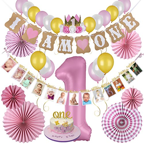 First Birthday Decorations & Party Supplies by Aliza | Monthly Milestone Banner - One Cake Topper – 1st Birthday Hat - Balloons - Pink Paper Fans – The Complete Baby Girl Party Decor Set