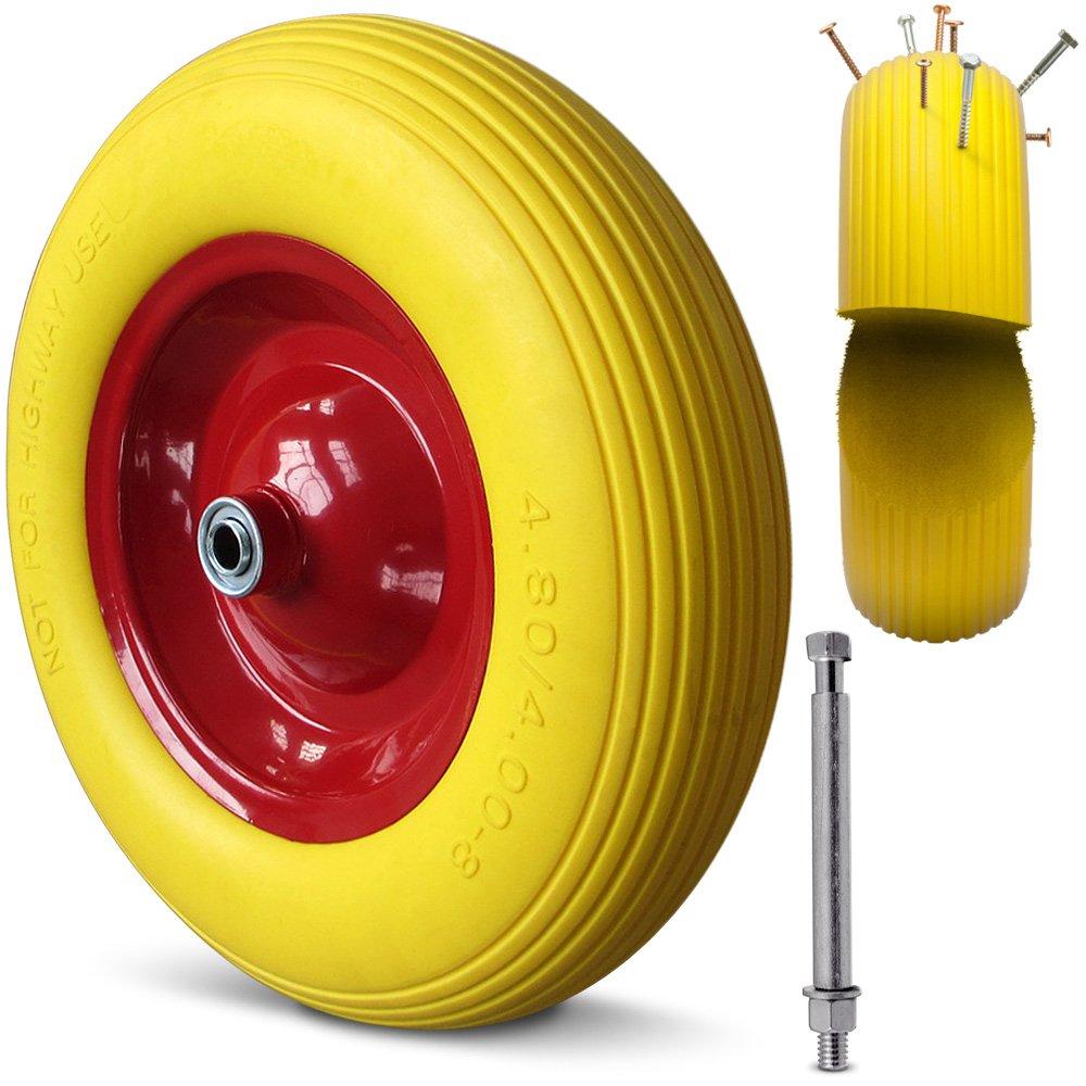 Neum/ático de Repuesto Eje incluido Deuba Rueda para carretilla Amarilla en goma A prueba de pinchazos /Ø390 mm poliuretano | Llanta en acero rojo