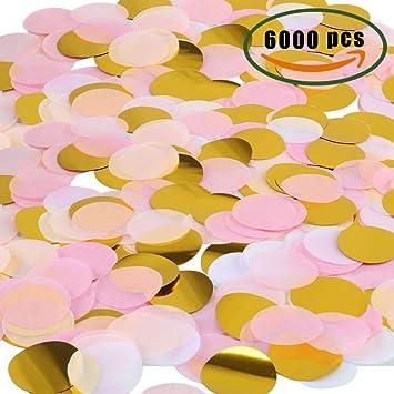 MIHOUNION 6000 Piezas de Confeti de Papel Confeti de Seda Redondo Confeti  de Tejido Romántico Partido d222ec75bf8
