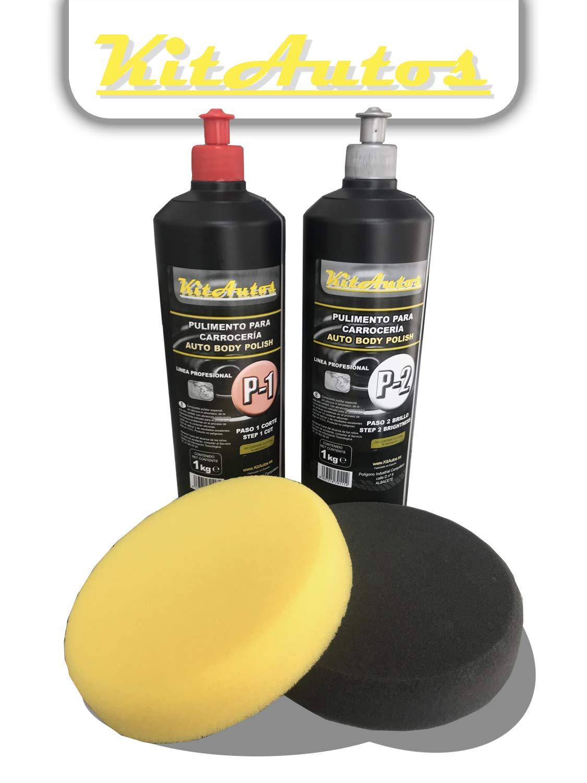 KITAUTOS Pasta abrasiva per carrozzeria, include 1 kg per graffi, 1 kg per lucidatura e spugne per la pulizia da 150 mm. pc112