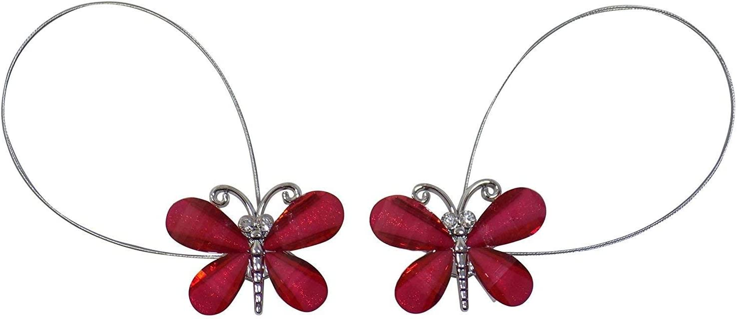 Magnetic Butterfly Wire Curtain Tie Backs - Pair (Red)