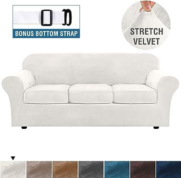 H.VERSAILTEX Modern Velvet Plush 4 Piece High Stretch Sofa Slipcover Strap  Sofa Cover Furniture Protector Form Fit Luxury Thick Velvet Sofa Cover for  ...