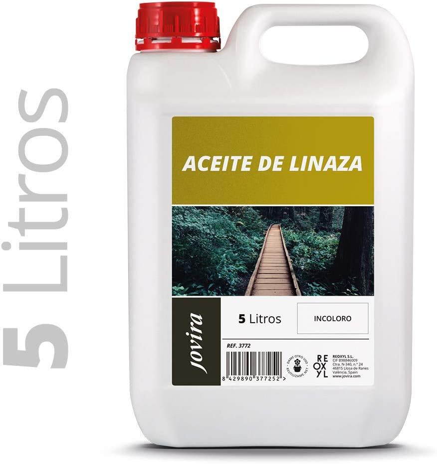 ACEITE DE LINAZA BARNIZ NATURA (100% PURO) Nutrición, protección y cuidado de la madera. (5 Litros)
