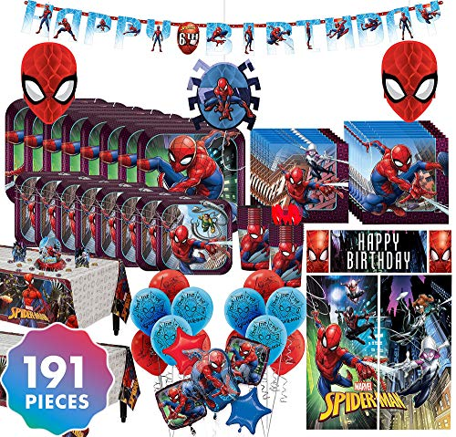 Party City Spider-Man Mega Ultimate Party Kit for 16 Guests, 191 Pieces, Includes Plates, Napkins, Balloons, and Decor (Spider Man 3 Lunch Napkins)